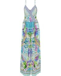 Camilla - Salvador Fields Forever Embellished Printed Silk Crepe De Chine Jumpsuit - Lyst