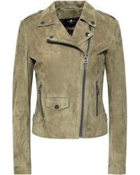 7 For All Mankind - Suede Biker Jacket - Lyst