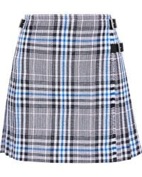 Christopher Kane - Pleated Checked Cotton-blend Jacquard Mini Skirt - Lyst
