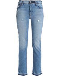 RTA - Distressed Mid-rise Slim-leg Jeans Mid Denim - Lyst