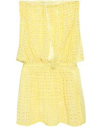 Melissa Odabash - Adela Strapless Broderie Anglaise Coverup Pastel Yellow - Lyst
