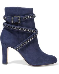 Schutz - Chain-embellished Suede Ankle Boots - Lyst