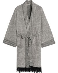 c4e752543f Skin - Woman Fringed Supima Cotton-blend Terry Robe Light Gray - Lyst