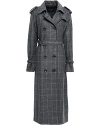 Equipment - Woman Double-breasted Check Wool-blend Trench Coat Dark Gray - Lyst