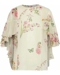 Giambattista Valli - Cape-effect Ruffled Floral-print Silk-georgette Blouse - Lyst
