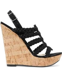 Schutz - Braided Faux Suede And Cork Wedge Sandals - Lyst