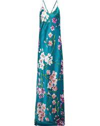 Olivia Von Halle - Woman Preminova Barbara Floral-print Silk-satin Nightgown Teal - Lyst