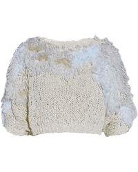 Brunello Cucinelli - Cropped Fringed Open-knit Jumper - Lyst