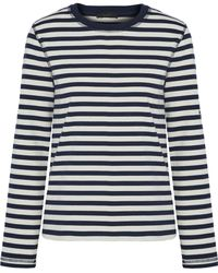 Belstaff - Christina Embroidered Striped Cotton-jersey Top - Lyst