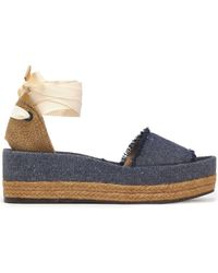30fe06db8c1 Castaner - Estela Woven Canvas And Frayed Denim Platform Sandals - Lyst