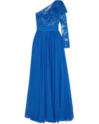 Zuhair Murad - One-shoulder Embellished Tulle And Silk-blend Chiffon Gown - Lyst