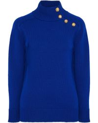 Lanvin - Button-detailed Ribbed Wool Turtleneck Jumper - Lyst