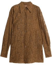 N°21 - Cotton-blend Lace Shirt Light Brown - Lyst