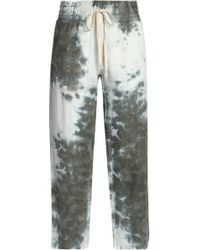 Enza Costa - Cropped Tie-dyed Linen Track Pants Army Green - Lyst