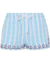 lemlem - Embroidered Striped Cotton Shorts - Lyst