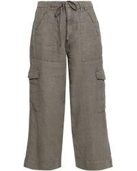 Joie - Woman Cropped Linen Wide-leg Trousers Grey Green - Lyst