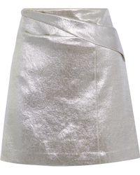 Halston - Pleated Lamé Mini Skirt - Lyst