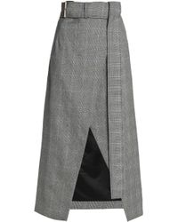 Solace London - Checked Wool Wrap Skirt - Lyst