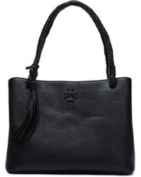 c1870da99ca Tory Burch - Woman Taylor Tasselled Textured-leather Tote Black Size -- -  Lyst