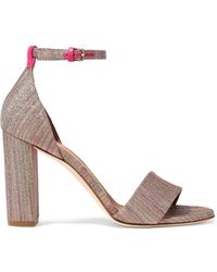 M Missoni - Leather-trimmed Metallic Crochet-knit Sandals Pastel Pink - Lyst