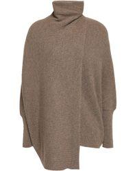 Agnona - Woman Draped Mélange Cashmere Turtleneck Sweater Mushroom - Lyst