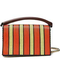Diane von Furstenberg - Paneled Striped Leather And Canvas Shoulder Bag - Lyst