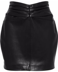 Carmen March - Ruched Leather Mini Skirt - Lyst