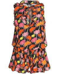 Just Cavalli - Ruffle-trimmed Printed Crepe Playsuit - Lyst