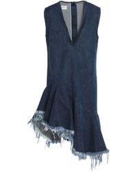 Marques'Almeida - Asymmetric Ruffled Denim Mini Dress - Lyst