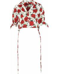 Alexander Wang - Cropped Floral-print Silk-faille Top - Lyst