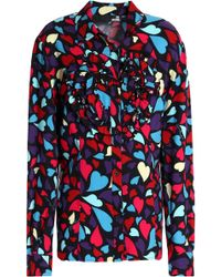 Love Moschino - Ruffled Printed Twill Shirt - Lyst