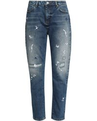Zoe Karssen - Distressed Embroidered High-rise Tapered Jeans - Lyst