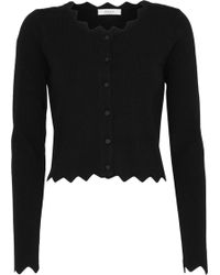MILLY - Scalloped Knitted Cardigan - Lyst