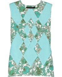 Thakoon - Printed Scuba-jersey And Mesh Top - Lyst