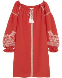 Maje | Embroidered Slub Crepe Mini Dress | Lyst