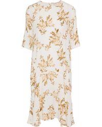 Ganni - St. Pierre Printed Crepe De Chine Dress - Lyst