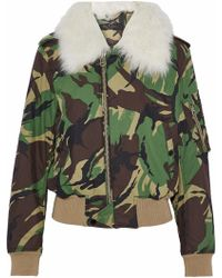 Rag & Bone - Flight Faux Fur-trimmed Printed Cotton-blend Jacket Army Green - Lyst