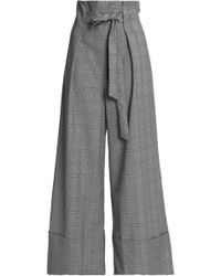 Paper London - Twin Tie-front Prince Of Wales Checked Wool-blend Wide-leg Trousers - Lyst