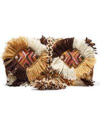 Antik Batik - Leather-trimmed Embellished Cotton-canvas Clutch - Lyst