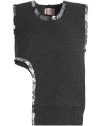 Christopher Kane - Asymmetric Sequin-trimmed Wool-blend Sweater - Lyst