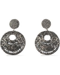 Kenneth Jay Lane - Gunmetal-tone Bead And Crystal Earrings - Lyst