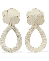 Kenneth Jay Lane - Woman Hammered Gold-tone Earrings Gold - Lyst