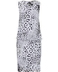 Norma Kamali - Gathered Leopard-print Ponte Mini Dress - Lyst