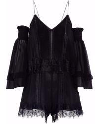 Nicholas - Cold-shoulder Lace-trimmed Silk-georgette Playsuit - Lyst