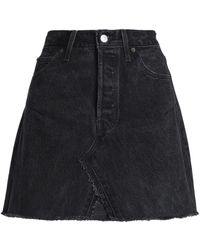 Levi's - Frayed Distressed Denim Mini Skirt - Lyst