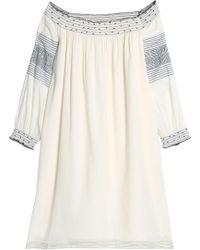 Velvet By Graham & Spencer - Off-the-shoulder Embellished Printed Cotton Dress - Lyst