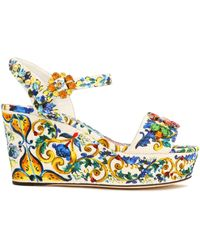 Dolce & Gabbana - Woman Embellished Printed Jacquard Wedge Sandals Multicolour Size 36 - Lyst