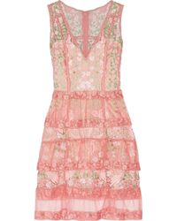 Marchesa notte - Tiered Guipure Lace And Tulle Dress - Lyst