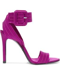 Pedro Garcia - Catalina Frayed Satin Sandals - Lyst
