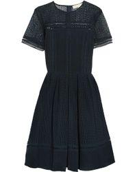 MICHAEL Michael Kors - Crochet-knit Mini Dress Midnight Blue - Lyst